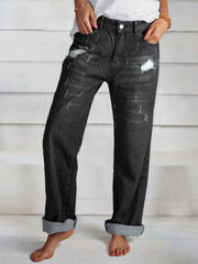 Casual Pockets Solid Pants