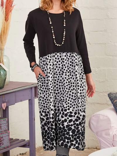 Crew Neck Polka Dots Long Sleeve Dresses
