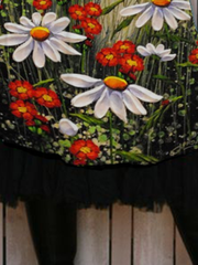 Black Floral Casual Floral-Print Shift Skirts