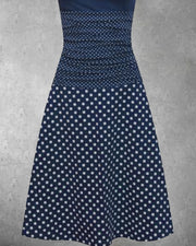 Deep Blue Knitted Short Sleeve Polka Dots Dresses