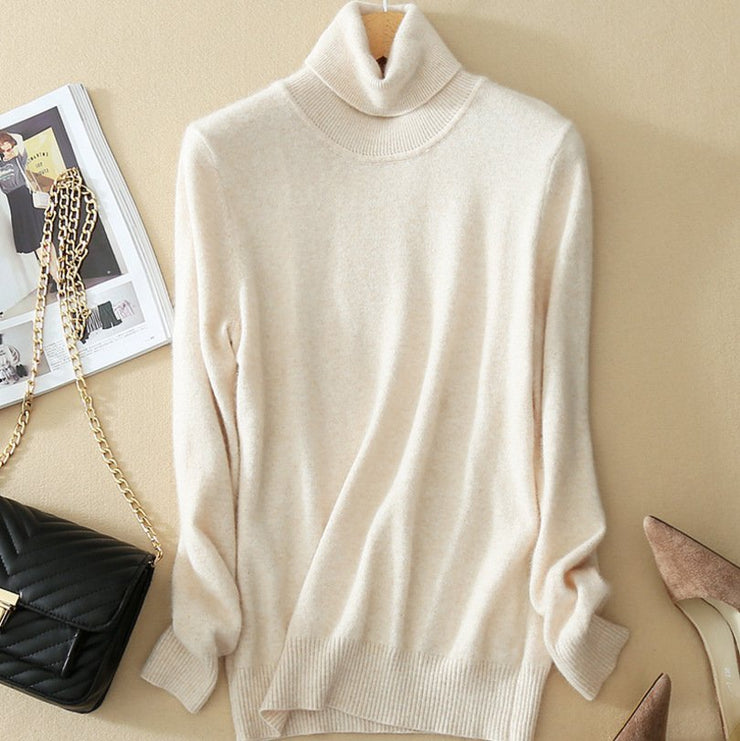 Newest Wool Pure Cashmere Sweater Women Thicken Pullovers Pull Femme High Neck Knitting Sweaters S-XXXL