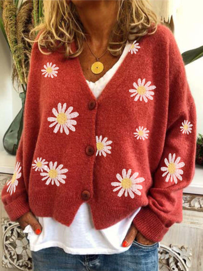 Floral  Long Sleeve  Printed Cotton-blend  V neck  Vintage  Winter Red Knit