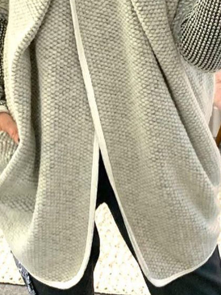 Gray Turtleneck Striped Casual Sweater