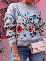 Long Sleeve Shift Floral Sweater With Bracelet