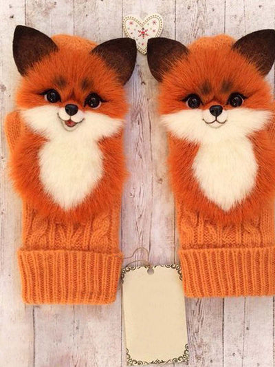 Polyester  Printed  Casual  Winter  Orange Gloves
