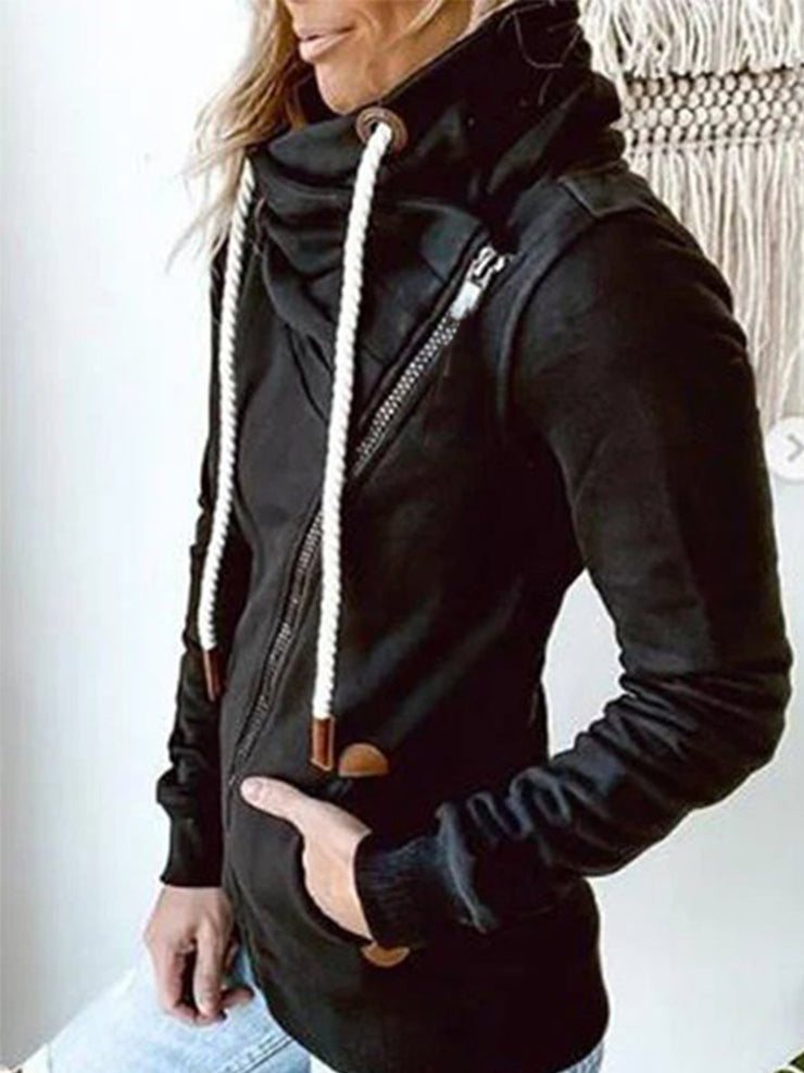 Black Hoodie Long Sleeve Pockets Outerwear