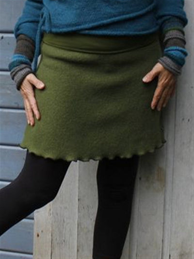 Autumn Winter Casual Vintage Green Half Short Skirt
