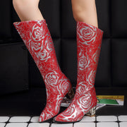 Printed Low Heel Pu Daily Boots