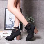 Large Size Hollow Chunky Heels Sandals Boots