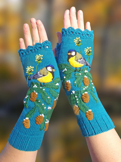Embroidered Bird fingerless Knitted Gloves & Mittens