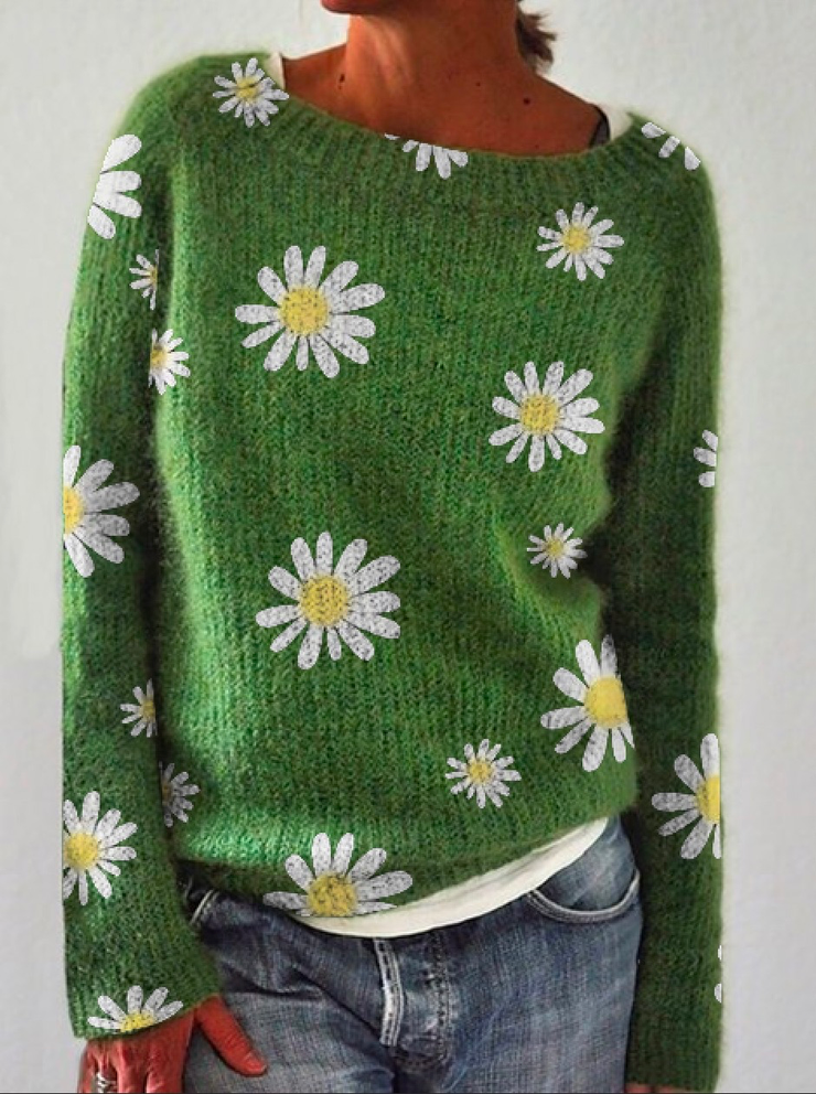 Green Crew Neck Floral Vintage Sweater