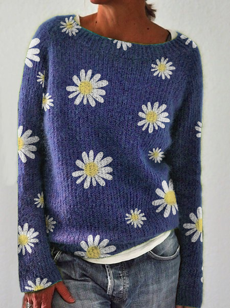 Floral Crew Neck Long Sleeve Holiday Sweater