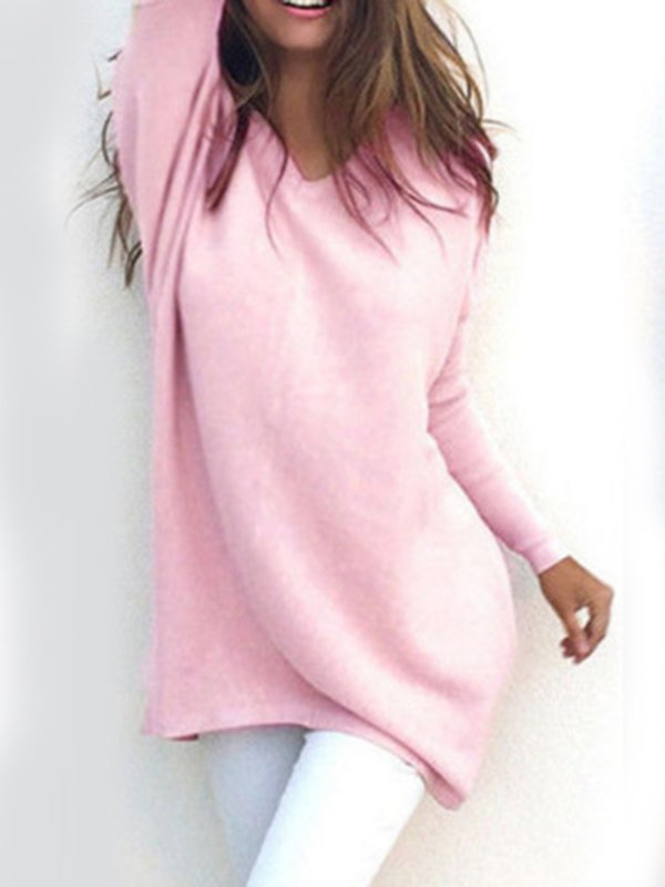 Pink Polyester Casual V Neck Sweater