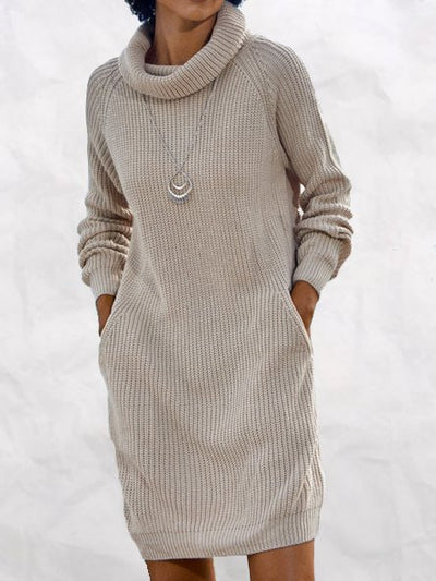 Apricot Turtleneck Shift Long Sleeve Dresses