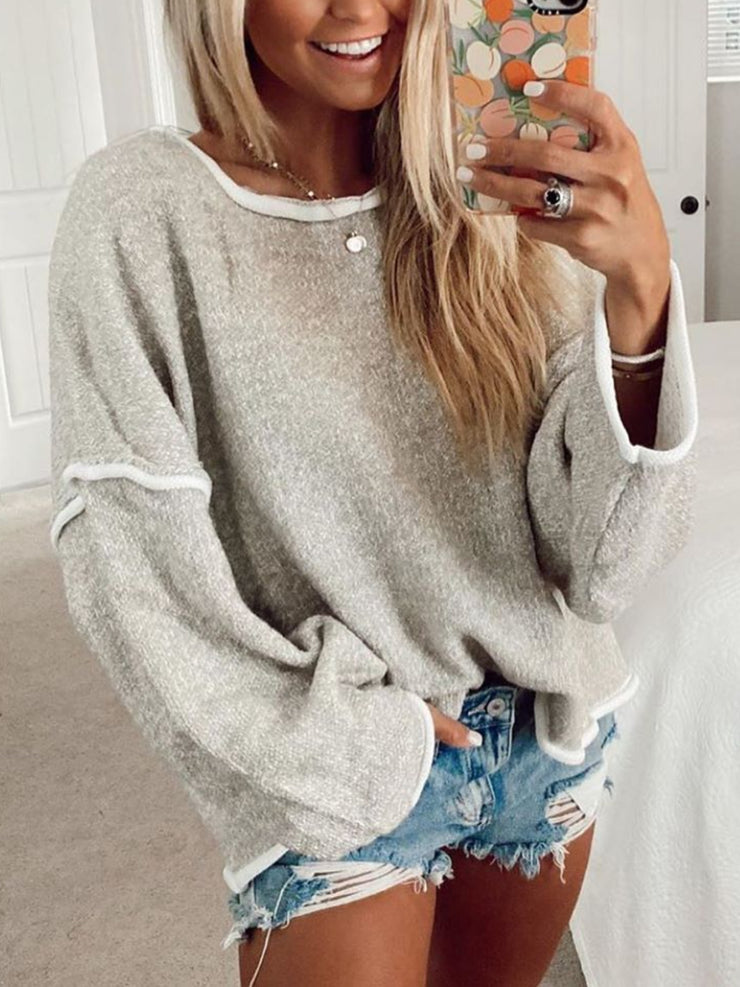 Gray Simple Solid Round Neck Sweater
