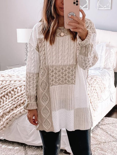 Knitted Long Sleeve Round Neck Sweater