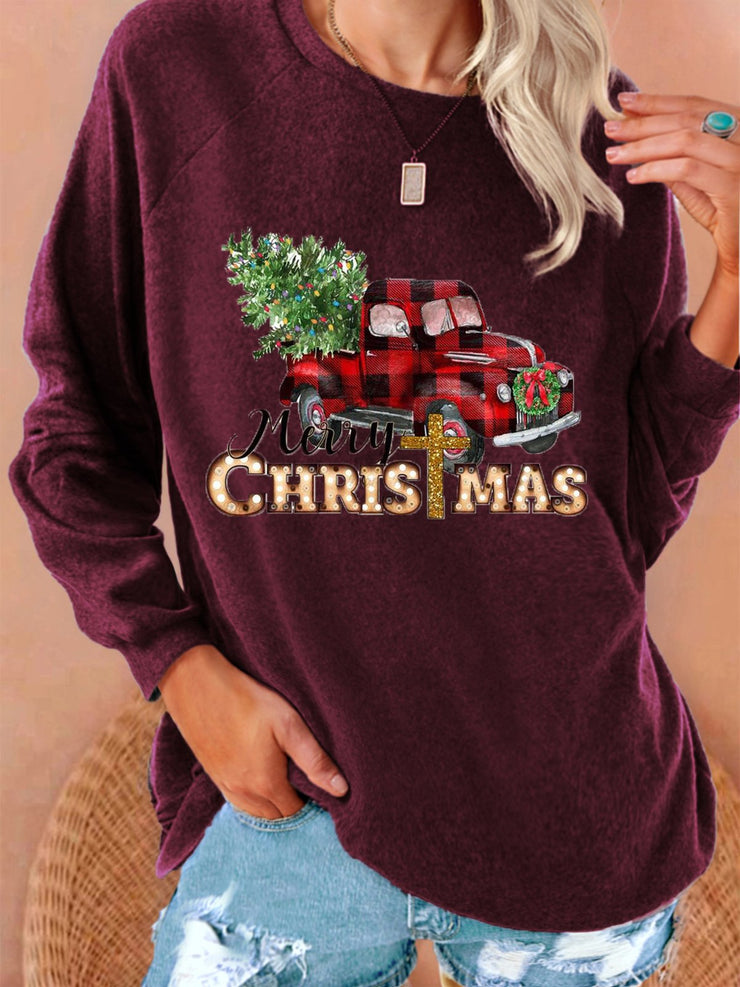New Women Fashion Plus Size Christmas Holiday Vintage Long Sleeve Sweatshirt Tops