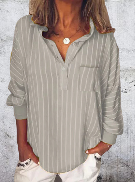 Striped Long Sleeve Turn-Down Collar Shirts & Tops