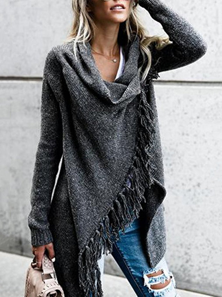 Long Sleeve Plain Knitted Fringed Cowl Neck Plus Size Cardigan