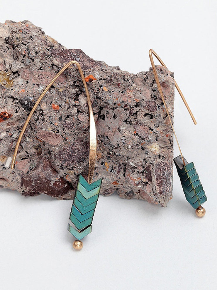 Quartz Arrow Drop Earrings Hooks