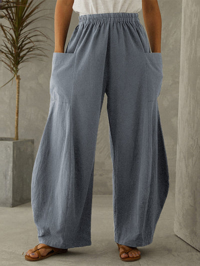 Casual Cotton Shift Pockets Pants