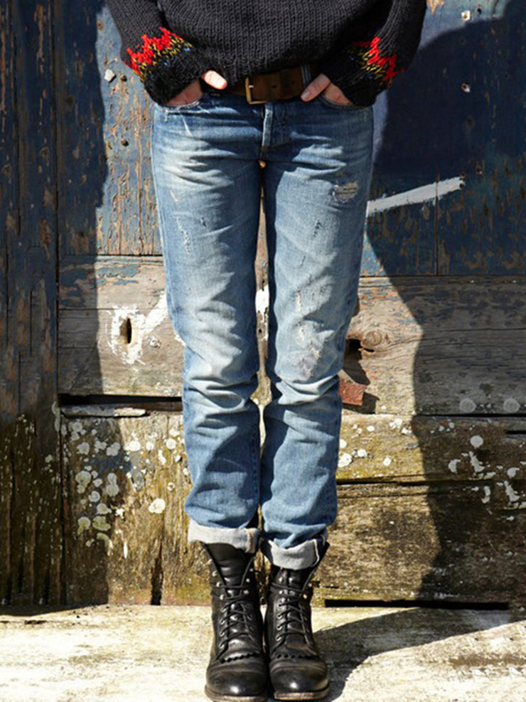 Blue Washed Brushed Ripped Casual Denim Shift Pants