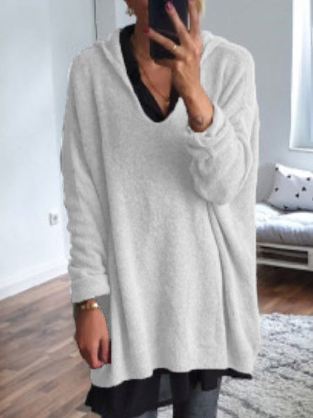 Casual Wool Blend V Neck Shift Sweater