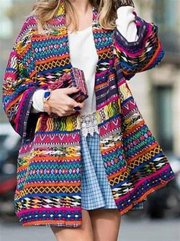 Sweet  Vintage Casual Outside Multi-color Printed Autumn Coat
