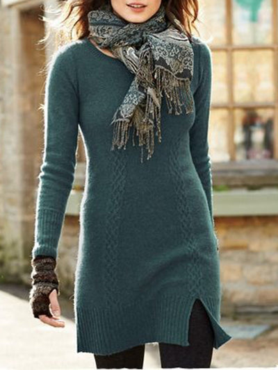Green Casual Slit Long Sleeve Slim Knitted Crew Neck Dresses