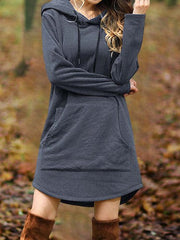 Solid Long Sleeve Hoodie Casual Dresses