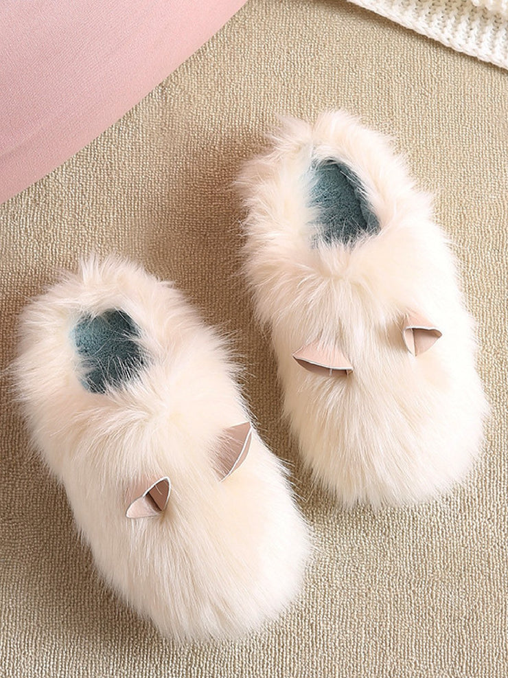 Flat Heel Pu Winter Slippers