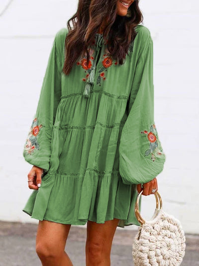 Plus Size Long Sleeve  Floral  Tassel Charm  Elegant Casual  Mini  Dresses