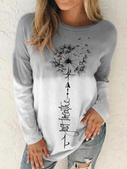 Gray Long Sleeve Casual Cotton-Blend Shirts & Tops