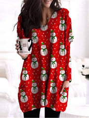Christmas Snowman Printed Long Sleeve Cotton-Blend Shirts & Tops