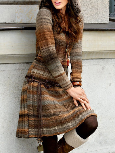 Brown Casual Vintage Ombre/Tie-Dye Long Sleeve A-Line Dresses