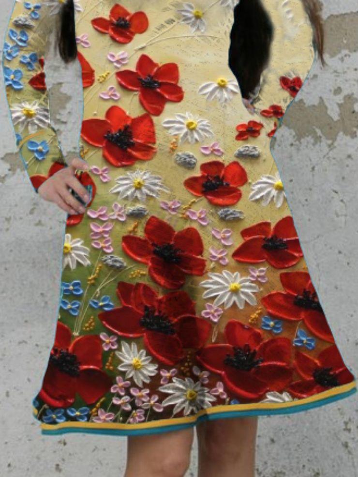 Plus size Floral Long Sleeve Dresses