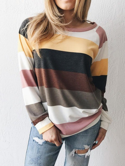 Plus size Long Sleeve Striped Sweatshirt