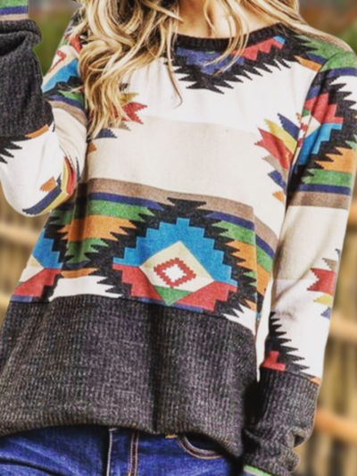 Plus size Geometric Long Sleeve Boho Shirts & Tops