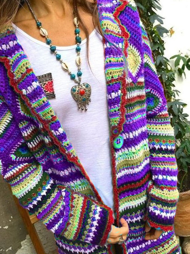 Plus Size Tribal Vintage Cardigan
