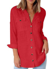 Shirt Collar Long Sleeve Buttoned Casual Shirts & Tops