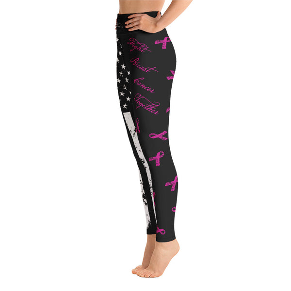 PINK Ribbon - Yoga Leggings-Leggings-Ardent Patriot Apparel Co.