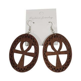 Wooden Ankh Earrings - OJ Styles and Accessories