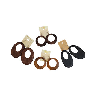 Round Wood Earrings - OJ Styles and Accessories