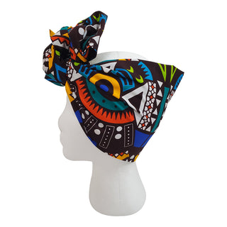 Abstract Black Open Crown Headwrap - OJ Styles and Accessories