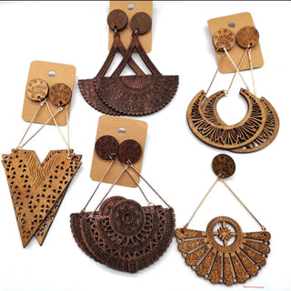 African Drop Wood Earrings - OJ Styles and Accessories