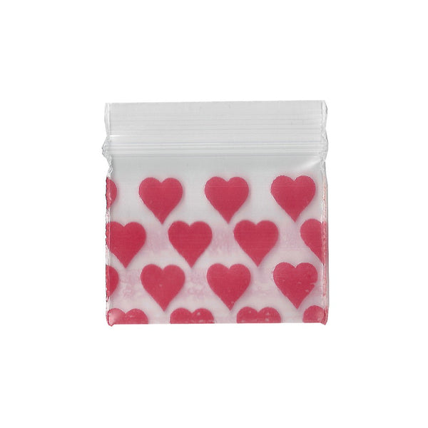 32mm x 25mm Apple Bags - Heart Print - 100 Pack