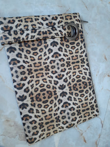 Leopard Casey Oversized Soft  Vegan Leather Clutch