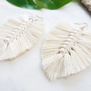 Boho Fringe Earrings- Natural