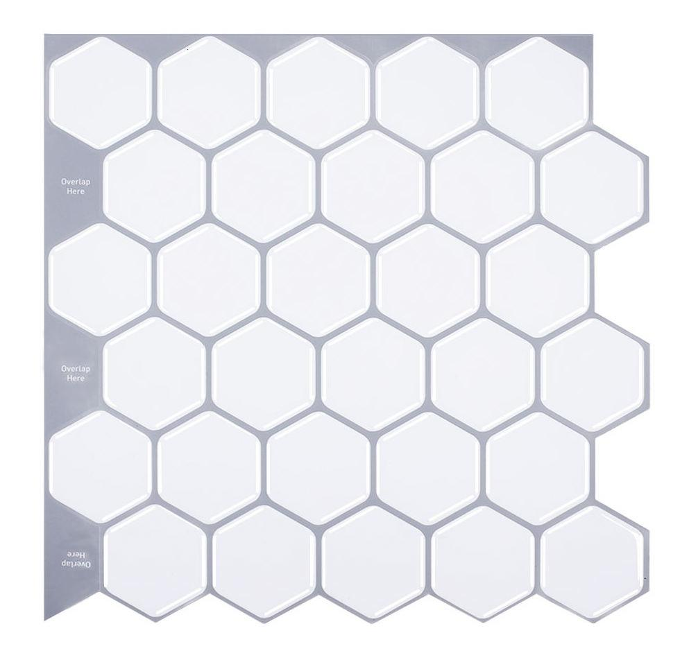 Classic Hexagon Tiles 3D Peel and Stick Tiles