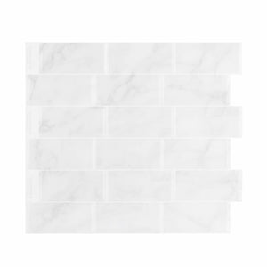 White Grout Marble Subway 3D Peel and Stick Tiles